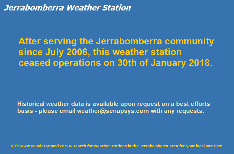 After serving the Jerrabomberra community since July 2006, this weather station ceased operations on the 30th of January 2018